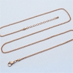 24 Inch Plus 2 Inch Extender Rose Gold Stainless Steel 2.3mm Rolo Chain for Floating Locket